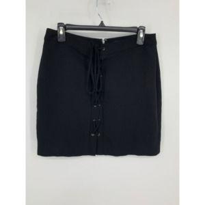 Madewell 10 black lace up mini skirt